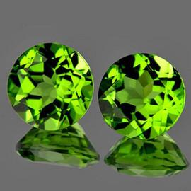 8.00 mm 2 pcs Round AAA Fire AAA Green Peridot Natural {Flawless-VVS}