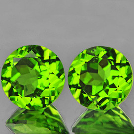 7.00 mm 2 pcs Round Best AAA Green Peridot Natural {Flawless-VVS1}