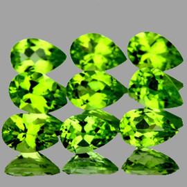 6x4 mm 9 pcs Pear AAA Fire AAA Green Peridot Natural {Flawless-VVS1}