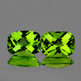 9x7 mm 2 pcs Rectangle Checker AAA Green Peridot Natural {Flawless-VVS}