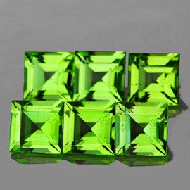 5.00 mm 6 pcs Square Best AAA Green Peridot Natural {Flawless-VVS1}