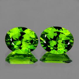 10x8 mm 2 pcs Oval AAA Fire AAA Green Peridot Natural {VVS}--AAA Grade