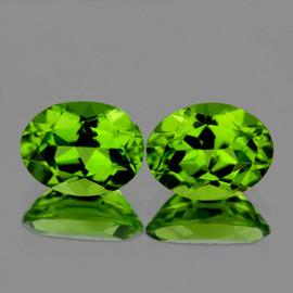 8x6 mm 2 pcs Oval AAA Fire AAA Green Peridot Natural {Flawless-VVS1}