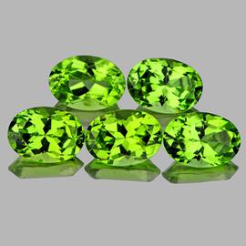 7x5 mm 5 pcs Oval AAA Fire AAA Green Peridot Natural {Flawless-VVS1}