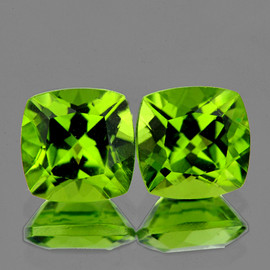 7.00 mm 2 pcs Cushion Green Peridot Natural {Flawless-VVS1}