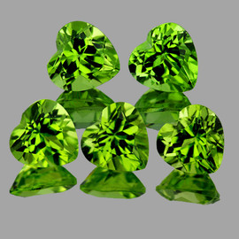 6.00 mm 5 pcs Heart AAA Green Peridot Natural {Flawless-VVS1}