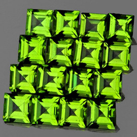 3.00 mm 16 pcs Square AAA Green Peridot Natural {Flawless-VVS1}