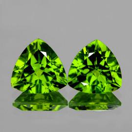 7.00 mm 2 pcs Trilliant Best AAA Fire AAA Green Peridot Natural {Flawless-VVS1}