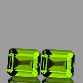 9x7 mm 2 pcs Rectangle AAA Green Peridot Natural {Flawless-VVS1}
