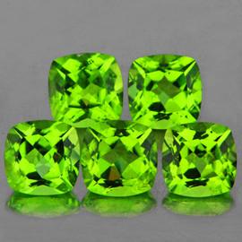 6.00 mm 5 pcs Cushion AAA Fire AAA Green Peridot Natural {Flawless-VVS}