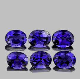4x3 mm 6 pcs Oval AAA Bluish Violet Iolite Natural {Flawless-VVS1}