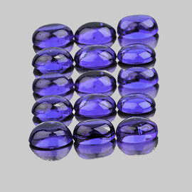 4x3 mm 16 pcs {2.12 ct} Oval Cabochon AAA Bluish Violet Iolite Natural {Flawless-VVS1}