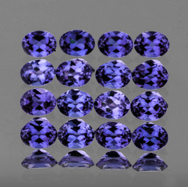 4x3 mm 16 pcs Oval Top Bluish Violet Iolite Natural {Flawless-VVS1}