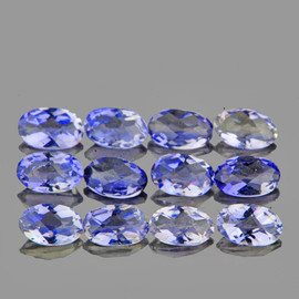 5x3 mm 12 pcs Oval Checker Bluish Violet Iolite Natural {Flawless-VVS1}