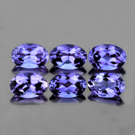 6x4 mm 6 pcs Oval Top Bluish Violet Iolite Natural {Flawless-VVS1}
