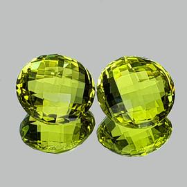 16.00 mm 2 pcs {28.46 cts} Round Double Checker Cut Best AAA Green Gold Lemon Quartz Natural {Flawless-VVS1}