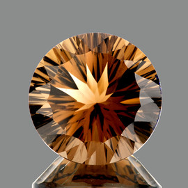10.00 mm {3.11 cts} Round Concave Cut AAA Golden Champagne Smoky Quartz Natural {Flawless-VVS1}