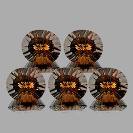 10x8 mm 5 pcs Oval Concave Cut Dark Champagne Smoky Quartz Natural {Flawless-VVS1}