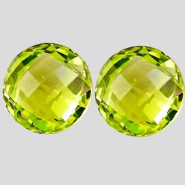 12.00 mm 2 pcs Round Double Checker Cut Best AAA Green Gold Lemon Quartz Natural {Flawless-VVS1}