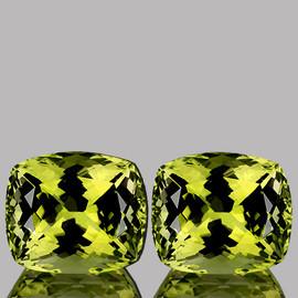 17.5x14.5 mm 2 pcs Rectangle AAA Green Gold Lemon Quartz Natural {Flawless-VVS1}