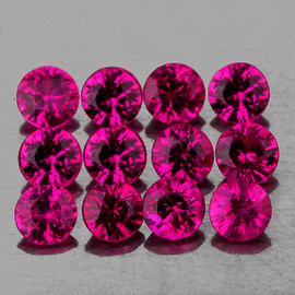 2.50 mm 12 pcs Round AAA Premium Violet Red Mozambique Ruby Natural (Unheated) {Flawless-VVS}--AAA Grade