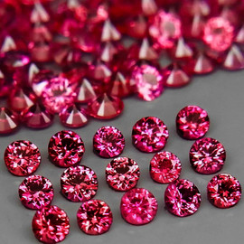 2.30 mm 16 pcs Round AAA Premium Pink Red Mozambique Ruby Natural (Unheated) {Flawless-VVS}--AAA Grade