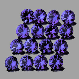 2.30 mm 16 pcs Round AAA Premium Violet Blue Sapphire Natural (Unheated) {Flawless-VVS}--AAA Grade