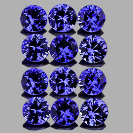 2.70 mm 12 pcs Round AAA Premium Violet Blue Sapphire Natural (Unheated) {Flawless-VVS} --AAA Grade