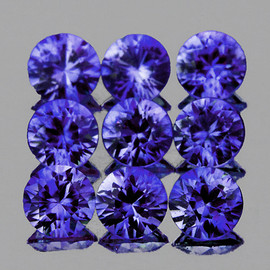 2.80 mm 9 pcs Round AAA Premium Violet Blue Sapphire Natural (Unheated) {Flawless-VVS}--AAA Grade