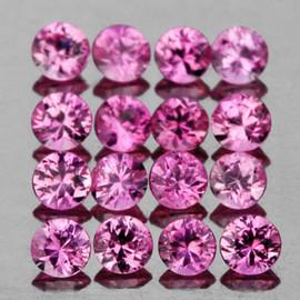 2.00 mm 20 pcs Round Diamond Cut AAA Fire Natural Pink Sapphire {VVS}
