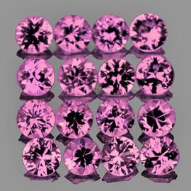 2.30 mm 16 pcs Round Diamond Cut AAA Fire AAA Pink Sapphire Natural {Flawless-VVS}