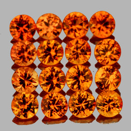 2.30 mm 16 pcs Round Machine Cut Extreme Quality AAA Golden Orange Sapphire Natural {Flawless-VVS1}