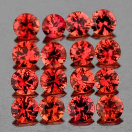 1.70 mm 35 pcs Round Machine Cut AAA Orange Red Sapphire Natural {Flawless-VVS1}