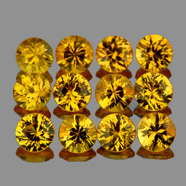 2.70 mm 12 pcs Round AAA Golden Yellow Sapphire Natural {Flawless-VVS1}