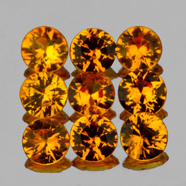 3.00 mm 9 pcs Round AAA Golden Yellow Sapphire Natural {Flawless-VVS}