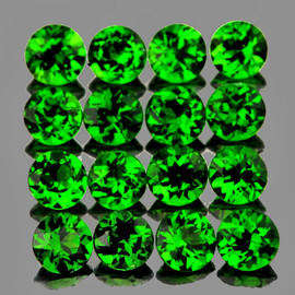2.50 mm 16 pcs Round AAA Fire Chrome Green Diopside Natural {Flawless-VVS}