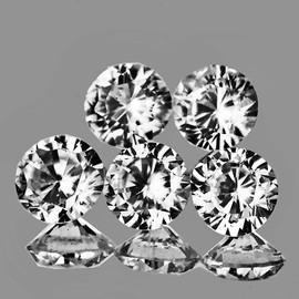 4.00 mm 5 pcs Round Diamond Cut Natural Best AAA White Zircon {Flawless-VVS1