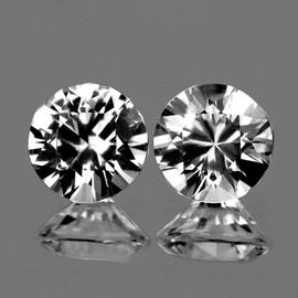 5.00 mm 2 pcs Round Diamond Cut White Zircon Natural {Flawless-VVS1}