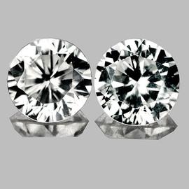 5.30 mm 2 pcs Round Diamond Cut White Zircon Natural {Flawless-VVS1}