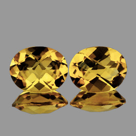 10x8 mm 2 pcs {4.15 cts} Oval Checker Natural Golden Yellow Citrine {Flawless-VVS1}