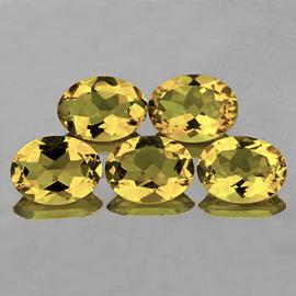 9x7 mm 5 pcs Oval Natural Golden Yellow Citrine {Flawless-VVS1}