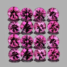 2.20 mm 16 pcs Round AAA Fire Intense AAA Pink Sapphire Natural {Flawless-VVS1} --Unheated AAA Grade