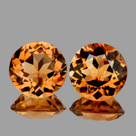 6.80 mm 2 pcs Round Top Champagne Imperial Topaz Natural {Flawless-VVS1}
