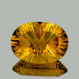 26x19 mm Oval { 37.30 cts} ConCave Cut Best AAA Golden Yellow Fluorite Natural {Flawless-VVS1}