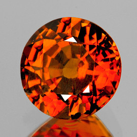 5.50 mm  Round {0.94 cts} AAA Vivid Orange Tourmaline Mozambique Natural {Flawless-VVS1}