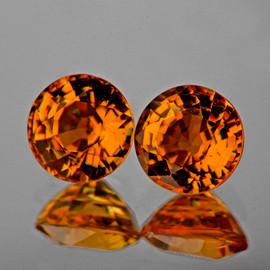 5.20 mm 2 pcs {1.26 cts} Round AAA Vivid Orange Yellow Tourmaline Mozambique Natural {Flawless-VVS1}