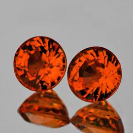 5.00 mm 2 pcs Round Best AAA Vivid Orange Tourmaline Mozambique Natural {Flawless-VVS1}