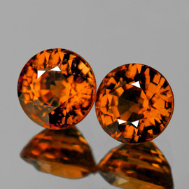 4.30 mm 2 pcs {0.81 cts} Best AAA Vivid Orange Tourmaline Mozambique Natural {Flawless-VVS1}