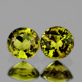 4.00 mm 2pcs Round {0.62 cts} AAA Vivid Yellow Tourmaline Mozambique Natural {Flawless-VVS1}