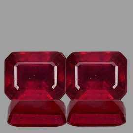 10x8 mm 2 pcs Rectangle AAA Fire Red Mozambique Ruby Natural